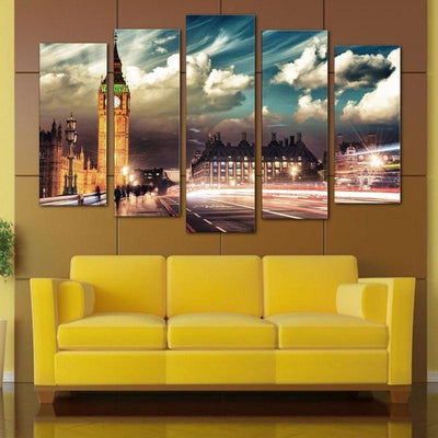 TEEPEAT Canvas Big Ben Cityscape - 5 piece canvas