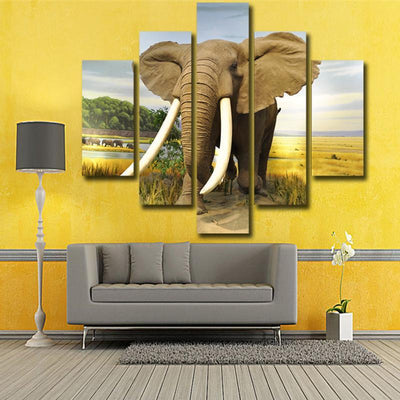 TEEPEAT Canvas Big Elephant In The Farm - 5 Piece Canvas Painting