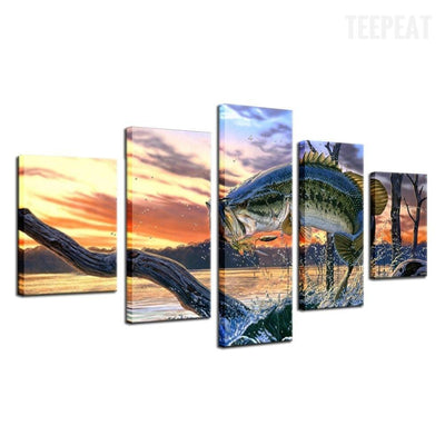 TEEPEAT Canvas Big Fish Before The Sunset Seaview - 5 Piece Canvas