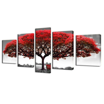 TEEPEAT Canvas Big Red Tree In The Wild - 5 Piece Canvas Painting