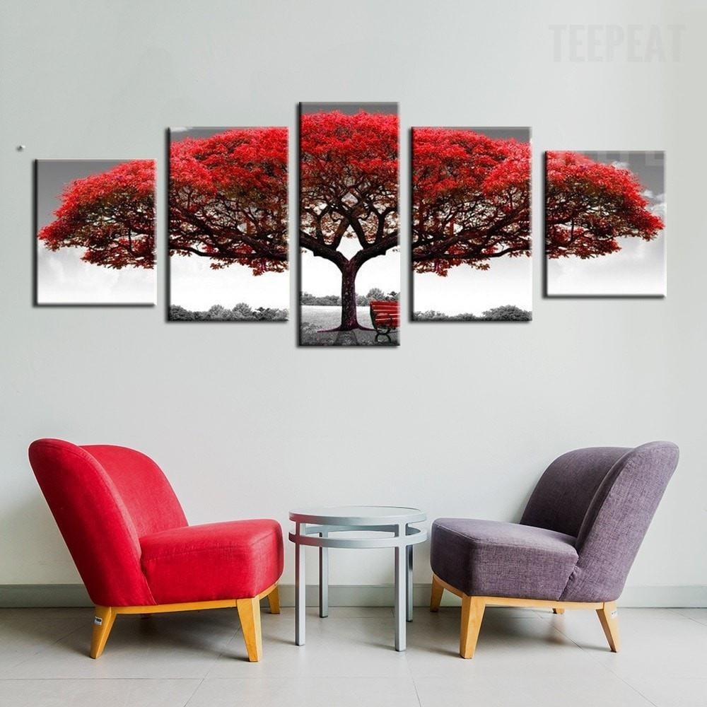 Big Red Tree In The Wild - 5 Piece Canvas Painting - Empire Prints