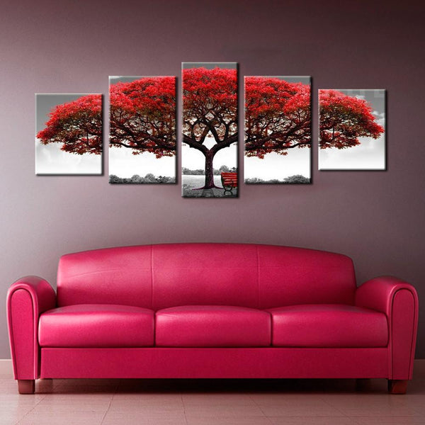 Big Red Tree In The Wild 5 Piece Canvas Painting