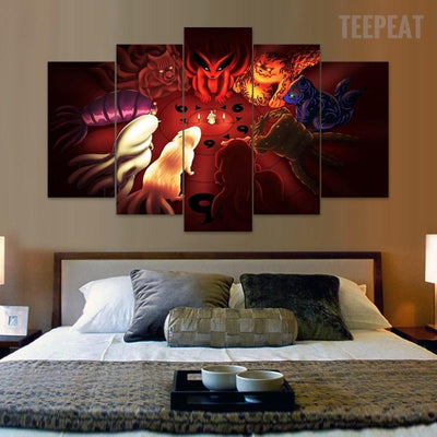 TEEPEAT Canvas Bijuu Naruto - 5 Piece Canvas Painting