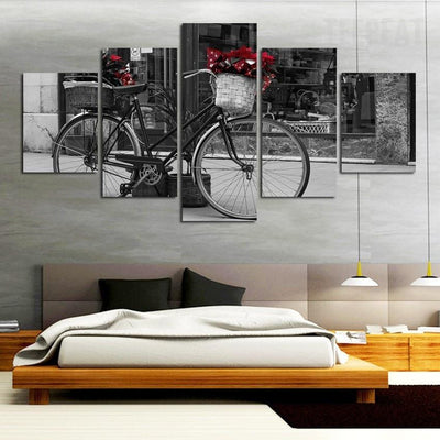 TEEPEAT Canvas Black And White Bicycle Landscape View - 5 Piece Canvas