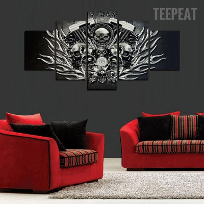 TEEPEAT Canvas Black And White Harley Skull - 5 Piece Canvas