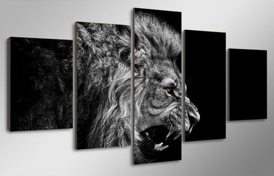 TEEPEAT Canvas Black And White Lion Cuadros - 5 Piece Canvas Painting