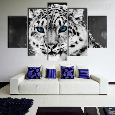TEEPEAT Canvas Black And White Snow Leopard Face - 5 Piece Canvas