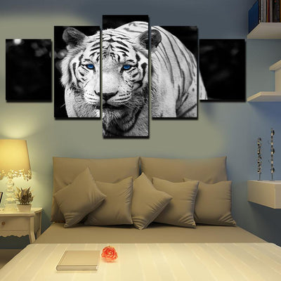 TEEPEAT Canvas Black and White Tiger - 5 Piece Canvas Painting