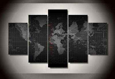 TEEPEAT Canvas Black And White Time Zone World Map - 5 Piece Canvas