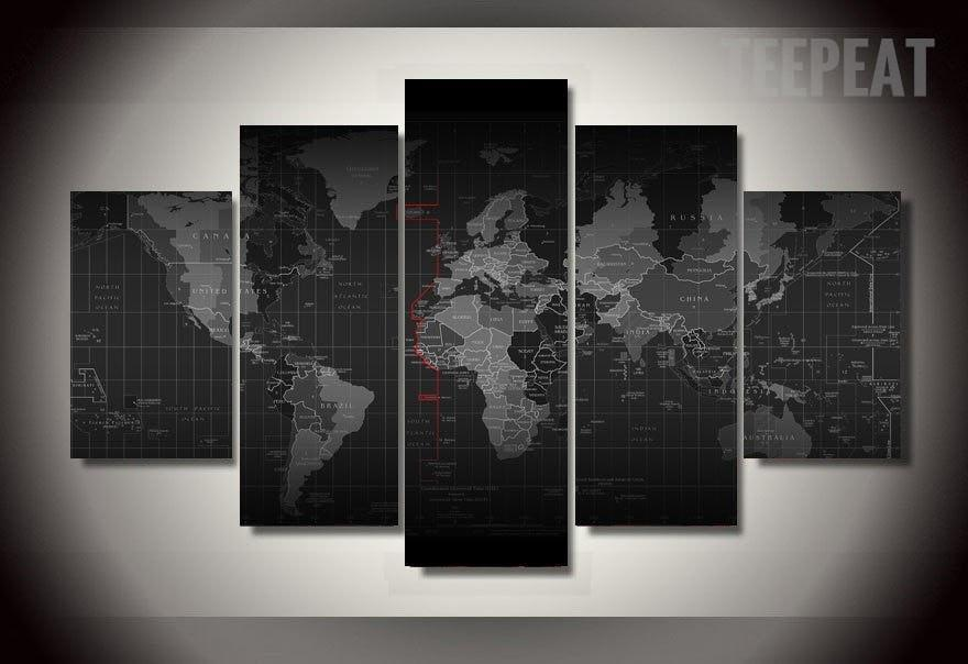 Black and white time zone world map 5 piece canvas empire prints teepeat canvas black and white time zone world map 5 piece canvas gumiabroncs Choice Image