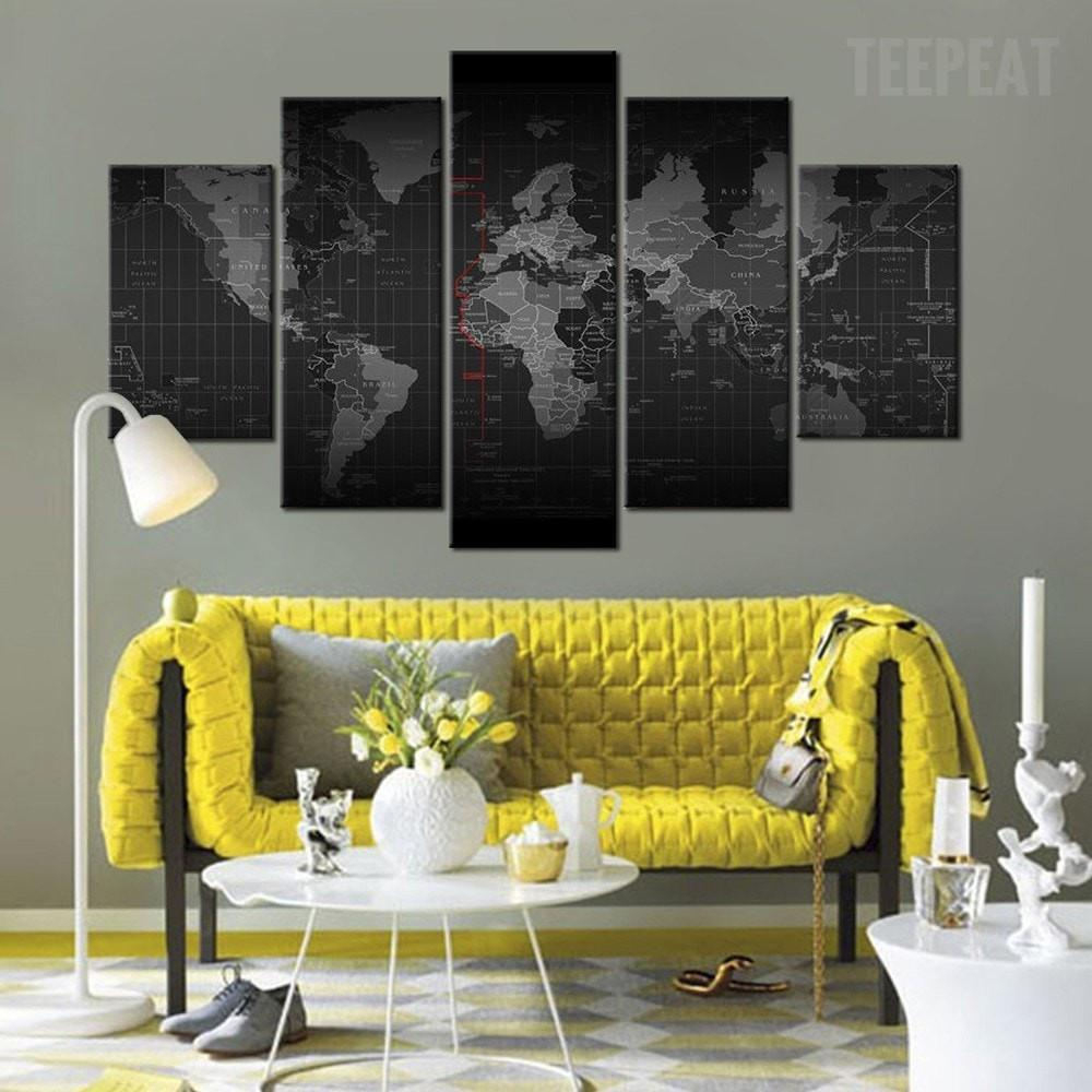 Black And White Time Zone World Map - 5 Piece Canvas - Empire Prints
