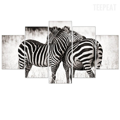 TEEPEAT Canvas Black And White Zebras - 5 Piece Canvas Painting