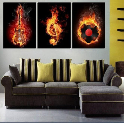 TEEPEAT Canvas Black And Yellow Burning Guitar And Musical Notes - 3 Piece Canvas