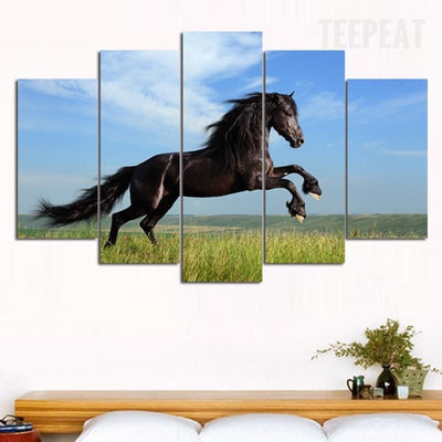 TEEPEAT Canvas Black Horse Painting - 5 Piece Canvas