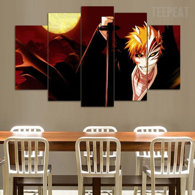 TEEPEAT Canvas Bleach Ichigo - The Dark Side - 5 Piece Canvas Painting
