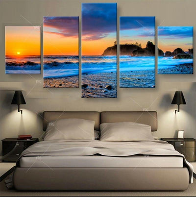 TEEPEAT Canvas Blue Sea Waters Painting - 5 Piece Canvas