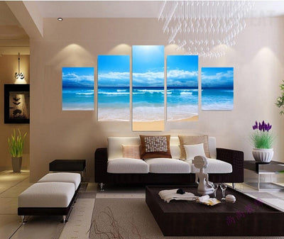TEEPEAT Canvas Blue Sky and Beach Wave Landscape - 5 Piece Canvas Painting