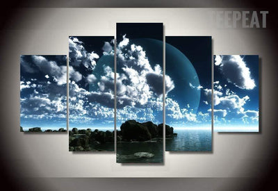 TEEPEAT Canvas Blue Sky Painting - 5 Piece Canvas