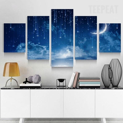 TEEPEAT Canvas Blue Starry Sky On A Cloudy Night - 5 Piece Canvas