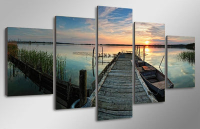 TEEPEAT Canvas Boat Beside The Bridge Painting - 5 Piece Canvas
