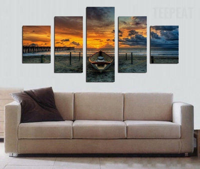 TEEPEAT Canvas Boat in the Sunset Painting - 5 Piece Canvas