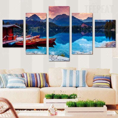 TEEPEAT Canvas Boats in the Lake Painting - 5 Piece Canvas