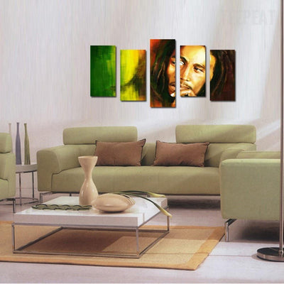 TEEPEAT Canvas Bob Marley Painting - 5 Piece Canvas