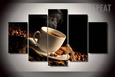TEEPEAT Canvas Brewing Black Coffee Beans - 5 Piece Canvas Painting