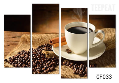 TEEPEAT Canvas Brewing Coffee and Beans - 5 Piece Canvas Painting