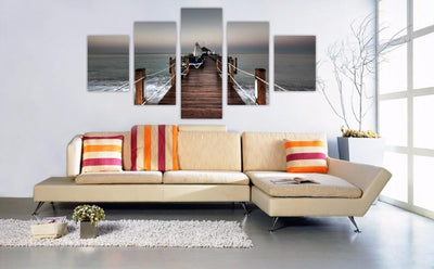 TEEPEAT Canvas Bridge Over Tropical Ocean Sea - 5 Piece Canvas Painting