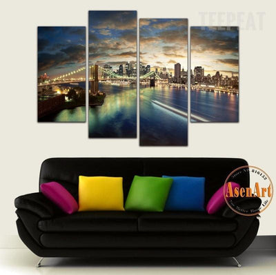 TEEPEAT Canvas Brooklyn Bridge Painting - 4 Piece Canvas