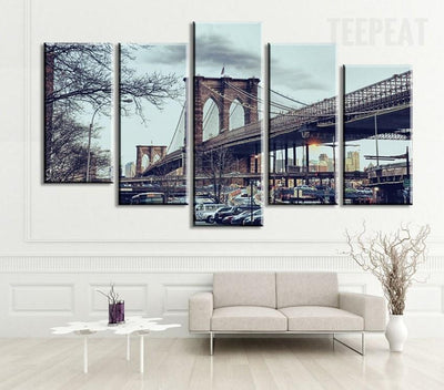 TEEPEAT Canvas Brooklyn New York City Bridge - 5 Piece Canvas