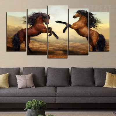 TEEPEAT Canvas Brown Horses Painting - 5 Piece Canvas