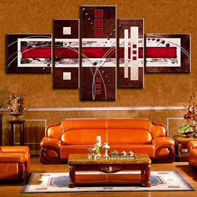 TEEPEAT Canvas Brown Red Cream Abstract Painting - 5 Piece Canvas