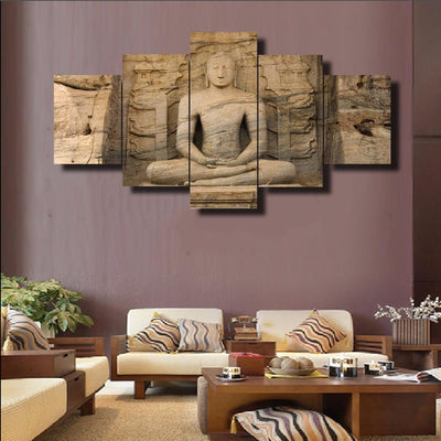 TEEPEAT Canvas Buddha Carved From Stone - 5 Piece Canvas Painting