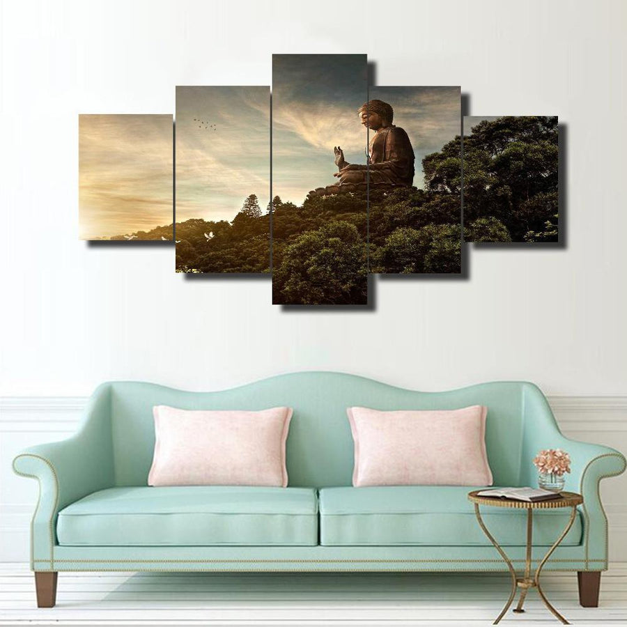 Buddha In Nature - 5 Piece Canvas Painting