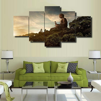 TEEPEAT Canvas Buddha In Nature - 5 Piece Canvas Painting