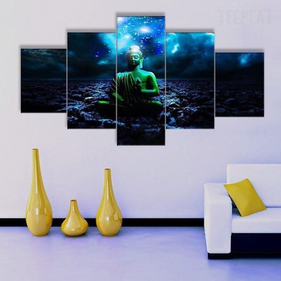 TEEPEAT Canvas Buddha Painting - 5 Piece Canvas