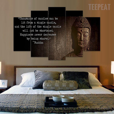 "TEEPEAT Canvas Buddha ""Spread Happiness""  - 5 Piece Canvas Painting"