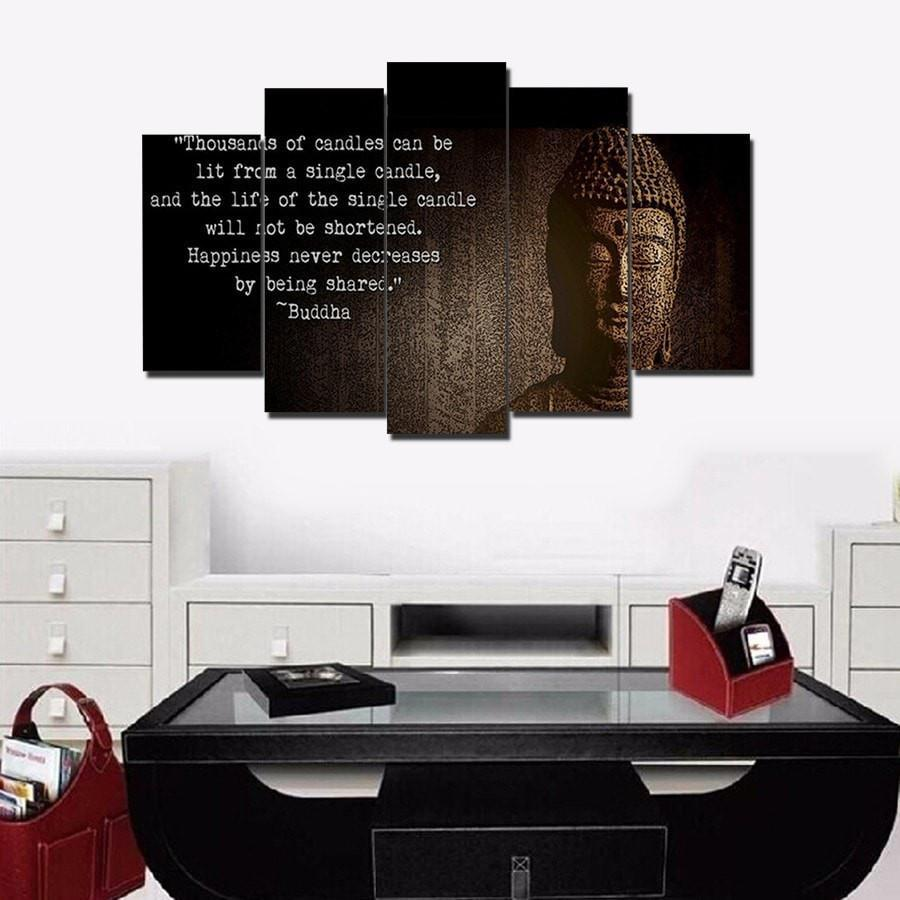 "Buddha ""Spread Happiness""  - 5 Piece Canvas Painting"