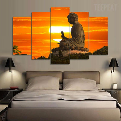 TEEPEAT Canvas Buddha Sunrise - 5 Piece Canvas Painting