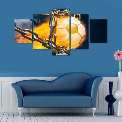 TEEPEAT Canvas Burning Football In Metal Chain - 5 Piece Canvas