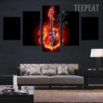 TEEPEAT Canvas Burning Guitar In Black Background - 5 Piece Canvas Painting