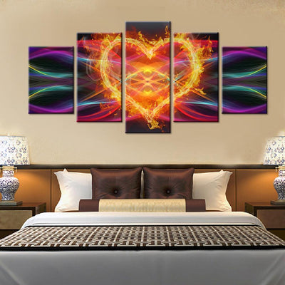 TEEPEAT Canvas Burning Heart Cuadros - 5 Piece Canvas Painting
