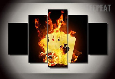 TEEPEAT Canvas Burning Poker Pictures - 5 Piece Canvas