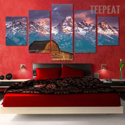 TEEPEAT Canvas Cabin on Snowy Mountain - 5 piece canvas