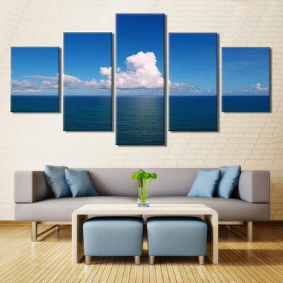 TEEPEAT Canvas Calm Sea At Noon Painting - 5 Piece Canvas