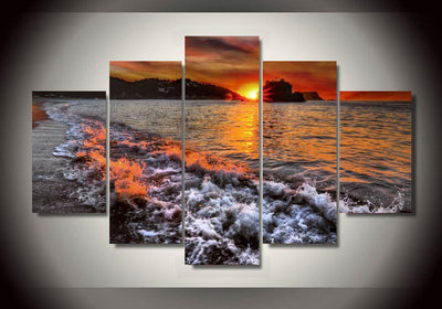 TEEPEAT Canvas Calm Sea Painting - 5 Piece Canvas Painting