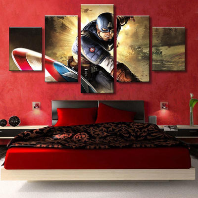 TEEPEAT Canvas Captain America In Action - 5 Piece Canvas