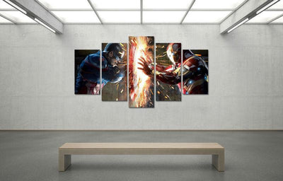 TEEPEAT Canvas Captain America vs Iron Man - 5 Piece Canvas Painting